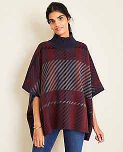 앤테일러 Ann Taylor Plaid Poncho Sweater,Night Sky