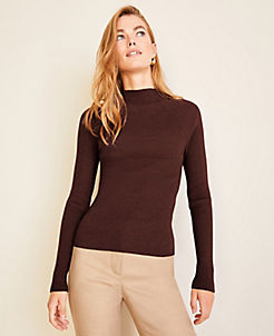 앤테일러 Ann Taylor Ribbed Mock Neck Sweater