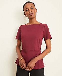 앤테일러 Ann Taylor Square Neck Peplum Top,Wild Cherry