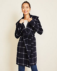 앤테일러 Ann Taylor Windowpane Shawl Collar Wrap Coat,Navy Multi