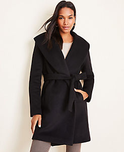 앤테일러 Ann Taylor Shawl Collar Wrap Coat,Black