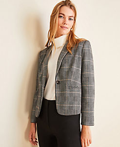 앤테일러 Ann Taylor The Newbury Blazer in Plaid,Black Multi