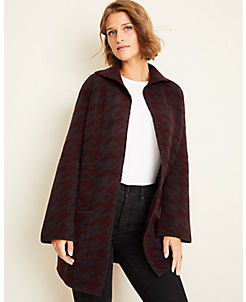 앤테일러 Ann Taylor Houndstooth Coatigan,Rich Burgundy Heather