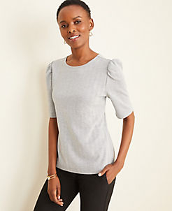앤테일러 Ann Taylor Herringbone Puff Sleeve Top,Grey Multi