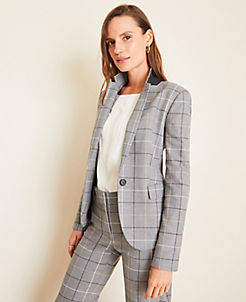 앤테일러 Ann Taylor The One-Button Blazer in Windowpane,Grey Plaid