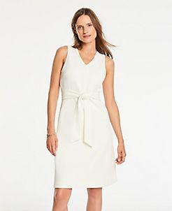 앤테일러 원피스 Ann Taylor Ottoman Tie Front Shift Dress,Winter White