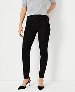 앤테일러 Ann Taylor Curvy Sculpting Pockets Skinny Jeans in Jet Black Wash,Jet Black Wash