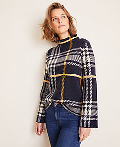 앤테일러 Ann Taylor Plaid Mock Neck Sweater,Night Sky