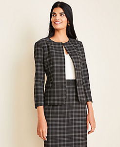 앤테일러 Ann Taylor The Crewneck Jacket in Plaid,Black Multi