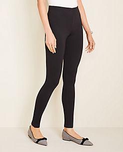 앤테일러 Ann Taylor Seamed Ponte Side Zip Leggings,Black