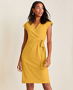 앤테일러 랩 원피스 Ann Taylor Piped Matte Jersey Wrap Dress,Yellow Plume