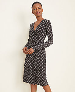 앤테일러 랩 원피스 Ann Taylor Roped Link Matte Jersey Wrap Dress,Black