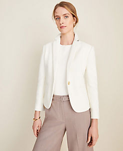 앤테일러 Ann Taylor The Newbury Blazer in Piped Tweed,Caribbean Sand