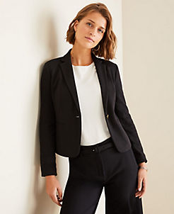 앤테일러 Ann Taylor The Newbury Blazer in Knit Plaid,Black
