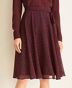 앤테일러 Ann Taylor Square Dot Full Skirt,Black Multi