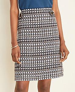 앤테일러 Ann Taylor Tweed Button Tab A-Line Skirt,Navy Multi