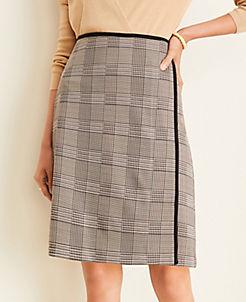 앤테일러 Ann Taylor Plaid Wrap Pencil Skirt,Brown Multi