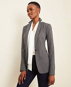 앤테일러 Ann Taylor The Hutton Blazer in Herringbone,Charcoal