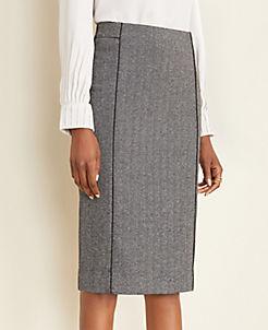 앤테일러 Ann Taylor Piped Herringbone Pencil Skirt,Black Multi