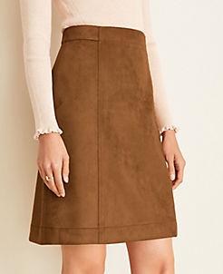 앤테일러 Ann Taylor Faux Suede A-Line Skirt,Dark Maple