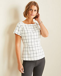 앤테일러 Ann Taylor Windowpane Peplum Top,Winter White