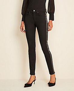 앤테일러 Ann Taylor Beaded Side Stripe Skinny Jeans in Jet Black Wash,Jet Black Wash
