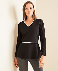 앤테일러 Ann Taylor Piped Peplum Top