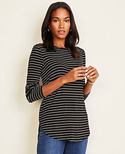 앤테일러 Ann Taylor Striped Tunic Tee,Black