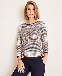 앤테일러 Ann Taylor Tipped Plaid 3/4 Sleeve Sweater,Winter White