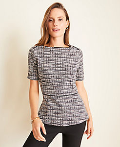 앤테일러 Ann Taylor Tweed Peplum Top,Navy Multi