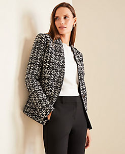 앤테일러 Ann Taylor The Cutaway Blazer in Tweed,Black/White Multi