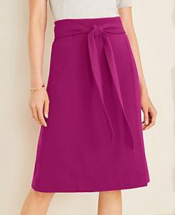 앤테일러 Ann Taylor Doubleweave Tie Waist Wrap Skirt