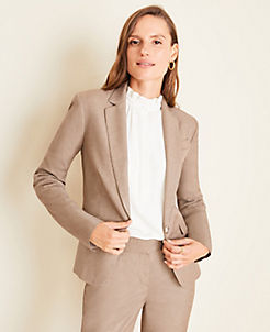 앤테일러 Ann Taylor The One-Button Blazer in Melange,Warm Neutral Melange