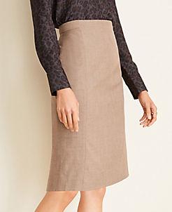 앤테일러 Ann Taylor The Pencil Skirt in Melange,Warm Neutral Melange