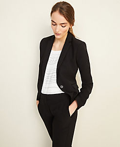 앤테일러 Ann Taylor The Tuxedo Blazer in Doubleweave,Black
