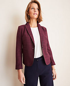 앤테일러 Ann Taylor The Newbury Blazer in Glen Plaid,Burgundy