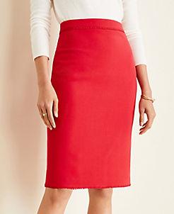 앤테일러 Ann Taylor Bauble Trim Doubleweave Pencil Skirt,Rose Flame