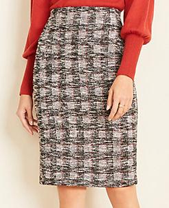 앤테일러 Ann Taylor Windowpane Pencil Skirt,Black Multi