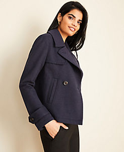 앤테일러 Ann Taylor Short Trench Coat,Atlantic Navy