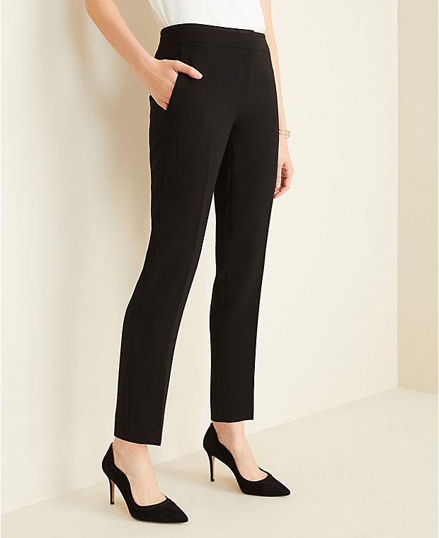 앤테일러 Ann Taylor The Ankle Pant in Doubleweave - Curvy Fit,Black