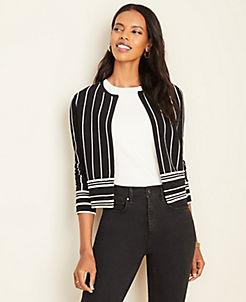 앤테일러 Ann Taylor Mixed Stripe Cropped Cardigan,Black