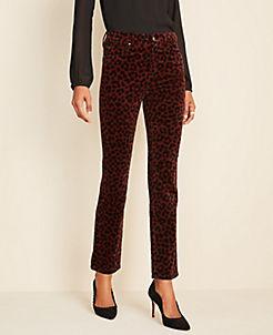 앤테일러 Ann Taylor Leopard Print Velvet Straight Leg Jeans,Rich Bordeaux
