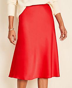 앤테일러 Ann Taylor Satin Skirt,Candy Red