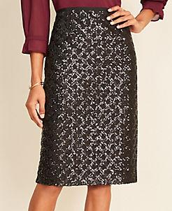 앤테일러 Ann Taylor Sequin Lattice Pencil Skirt,Black
