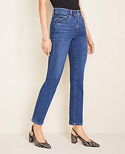 앤테일러 Ann Taylor Sculpting Pockets High Rise Straight Leg Jeans in Indigo Wash,True Blue Wash