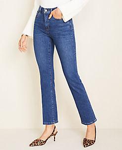 앤테일러 Ann Taylor Curvy Sculpting Pockets High Rise Straight Leg Jeans in Indigo Wash,True Blue Wash