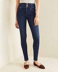 앤테일러 Ann Taylor Curvy Sculpting Pockets High Rise Skinny Jeans in Classic Indigo Wash,Classic Indigo Wash