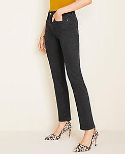 앤테일러 Ann Taylor Sculpting Pockets High Rise Straight Leg Jeans in Black Wash,Washed Black Wash
