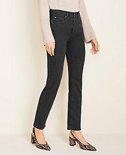 앤테일러 Ann Taylor Curvy Sculpting Pockets High Rise Straight Leg Jeans in Black Wash,Washed Black Wash