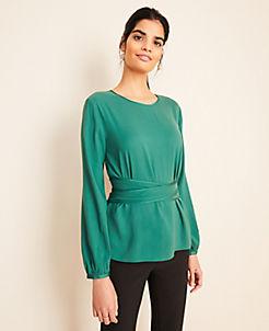 앤테일러 Ann Taylor Tie Waist Top,Shaded Emerald